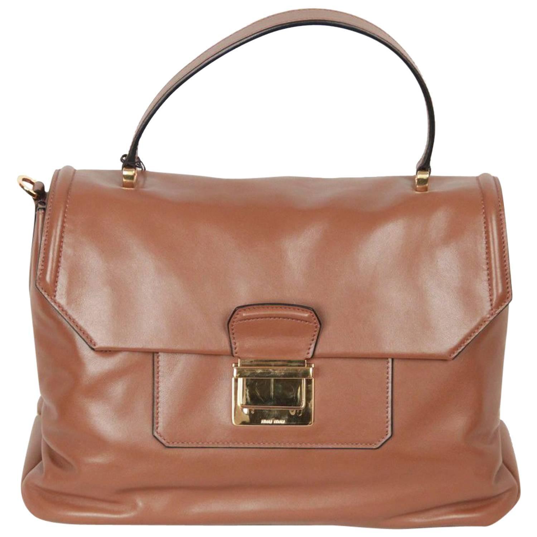 8bfbc3ae4 MIU MIU Tan VITELLO SOFT Leather SATCHEL with STRAP RN1078 For Sale at  1stdibs
