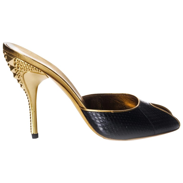 9993dcff9 New Gucci Runway Python Gold Heeled Mules Sz 9.5 For Sale. Gucci Horsebit  Heels Brand New * Stunning in Black Snakeskin * Studded Gold Heel * Size