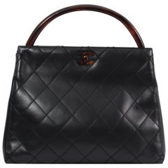 Chanel Black Quilted Lambskin Leather and Bakelite Vintage bag