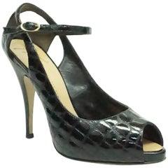 Giuseppe Zanotti Black Patent Crocodile Style Embossed Shoes - 38.5