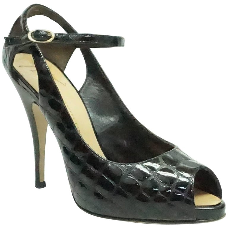 29329c12dd89a Giuseppe Zanotti Black Patent Crocodile Style Embossed Shoes - 38.5 For Sale