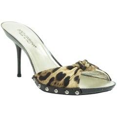Dolce & Gabbana Leopard Mules w/ Silver Studs - 38.5