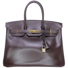 Hermes Birkin 35cm Chocolate Brown Smooth Leather