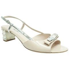 Miu Miu Nude Patent Rhinestone Heel Shoes  - 42