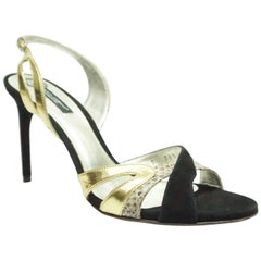 Dolce & Gabbana Black Suede Slingback w/ Gold Leather and Snakeskin - 38.5