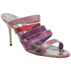 Manolo Blahnik Purple & Red Strappy Python Sandal - 38 - NEW/NEVER WORN