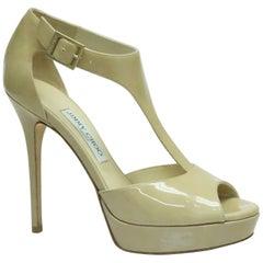 Jimmy Choo Nude Patent Platform Sandal - 38.5