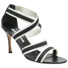 Manolo Blahnik Black & White Strappy Sandals - 39