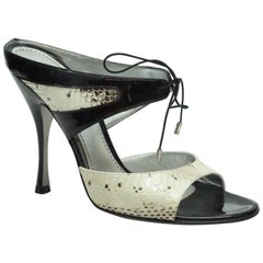 Dolce & Gabbana Ivory & Black Snake and Patent Slide - 38