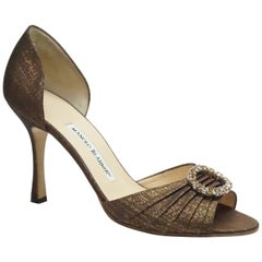 Manolo Blahnik Bronze Silk D'Orsay with Rhinestones - 38