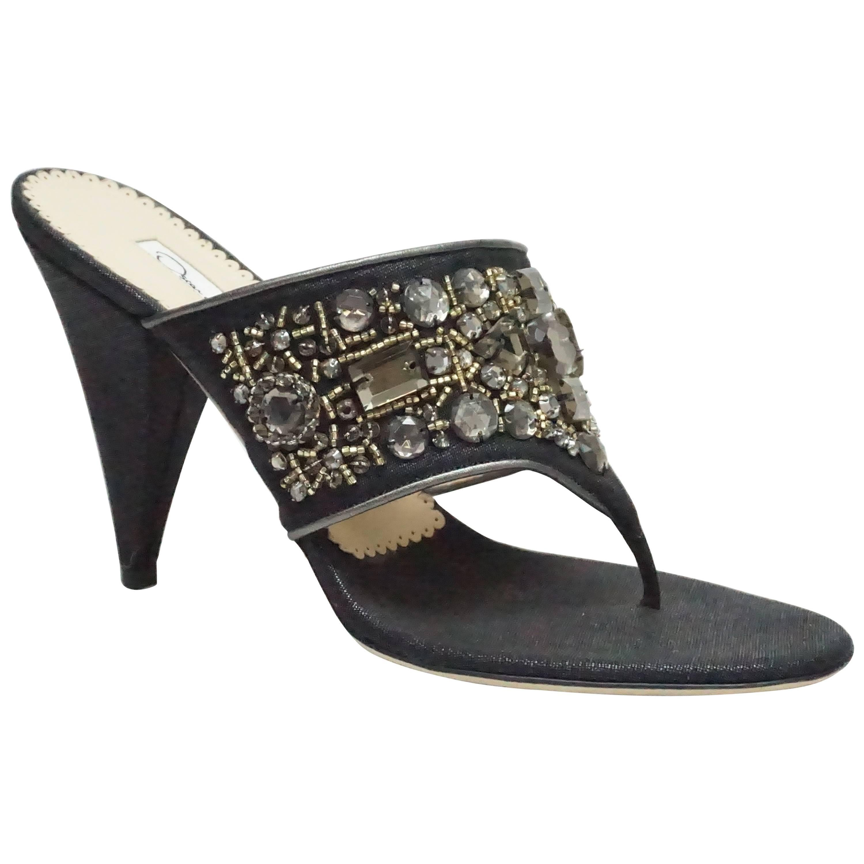 Oscar De La Renta Black Linen High Heel Thong Strap - 38.5