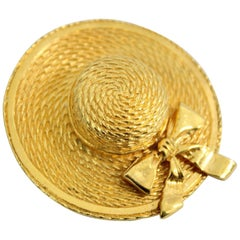 1990 Gold-Plated Chanel Hat Brooche