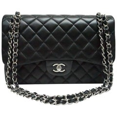 Chanel Jumbo Classic Black Lambskin Double Flap Bag with Silver Hardware, 2017