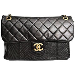 Chanel Black Quilted Leather and Python Urban Mix Medium Flap Shoulder Bag