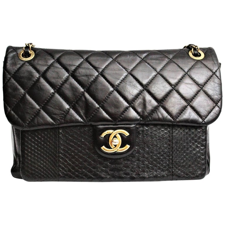 c24b61ab713d Chanel Black Quilted Leather and Python Urban Mix Medium Flap Shoulder Bag  For Sale