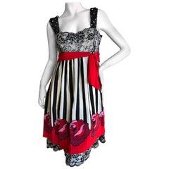 Anna Sui Vintage Festive Lace Trimmed Party Dress, 1980s
