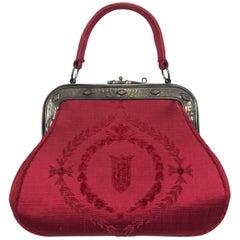 Roberta di Camerino red silk cut velvet metal frame handbag