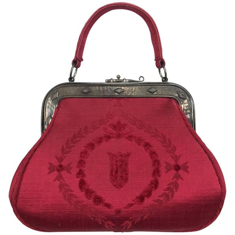 Roberta di Camerino red silk cut velvet metal frame handbag  For Sale