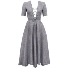Lanvin Gray Lace Up Front Day Dress, 1970s