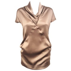 Fabiana Filippi Taupe Silk and Wool Short Sleeve Top with Draped V Neck