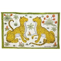 Hermes Green Leopards Beach Towel rt. $600