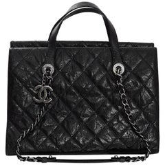 Chanel Black Distressed Glazed Caviar CC Crave Tote Bag with Box