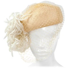 Natural Straw Pillbox Cocktail Hat With Veil