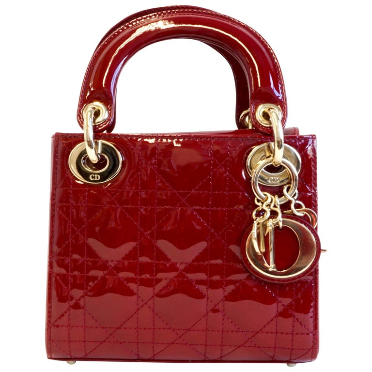 Christian Dior Lady Dior Red Patent Leather Gold Hardware Mini handbag