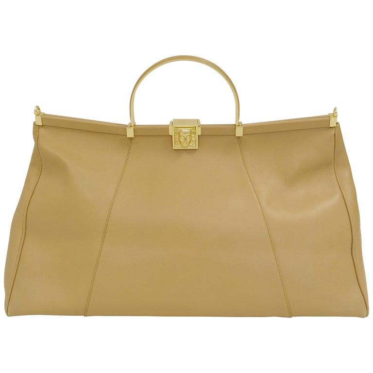 Barry Kieselstein-Cord Oversized Taupe Italian Leather Handbag