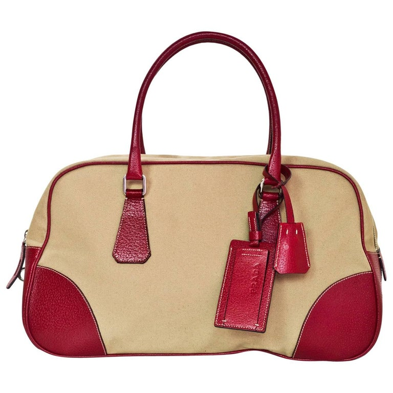 Prada Russo Red Cinghi Leather & Beige Canapa Canvas Bowler Bag w. Dust Bag