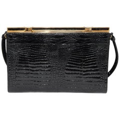 Black Baby croco evening 70s bag