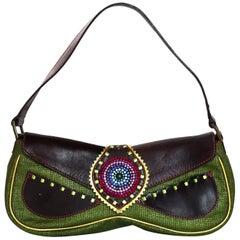 Giuseppe Zanotti Green & Brown Pochette Bag