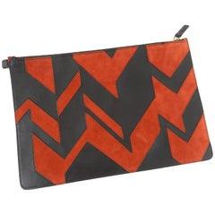 Ferragamo Fall 2016 brick and black geometric patchwork zip tote