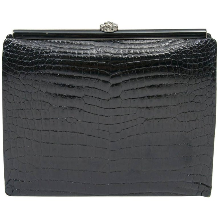 1960s Black Croc Clutch, France