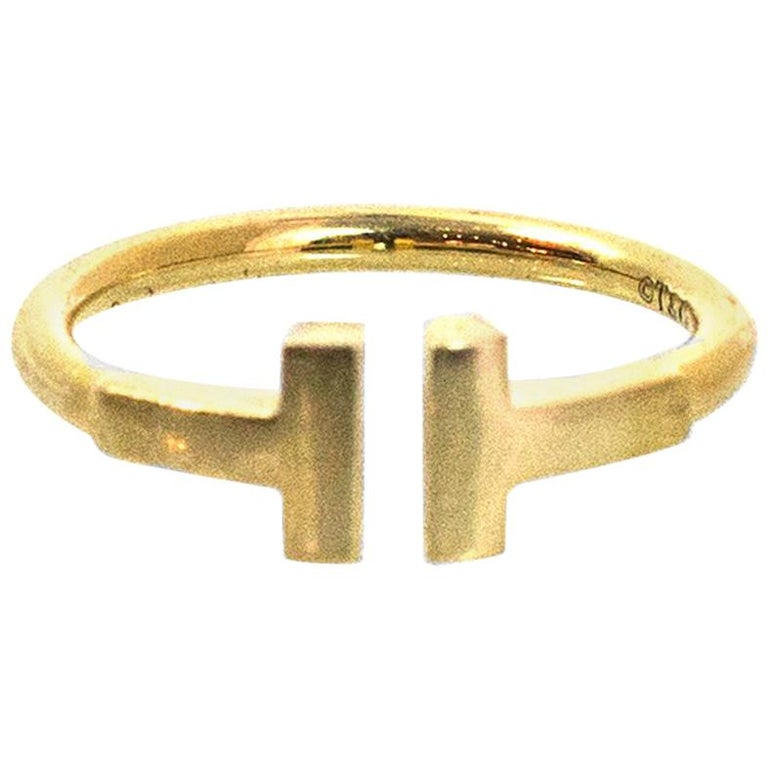 58c7c2f84 Tiffany and Co. 18k Yellow Gold T Wire Ring Sz 4.5 w. Receipt For ...
