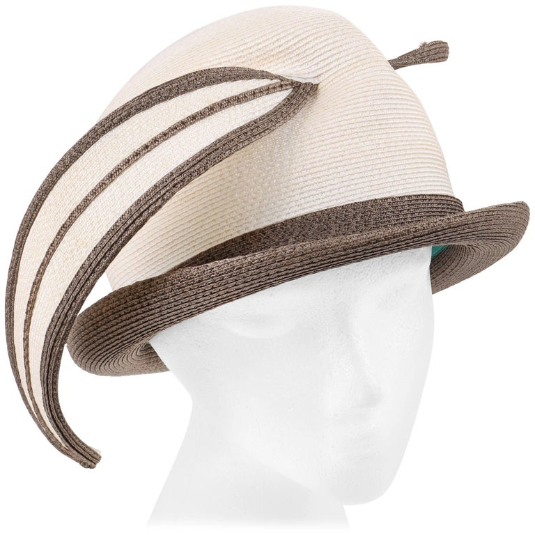 YVES SAINT LAURENT c.1960's YSL Off White Taupe Straw Sculptural Leaf Cloche Hat
