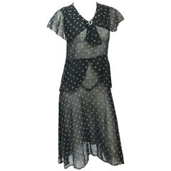1920 Black Cotton Day Dress
