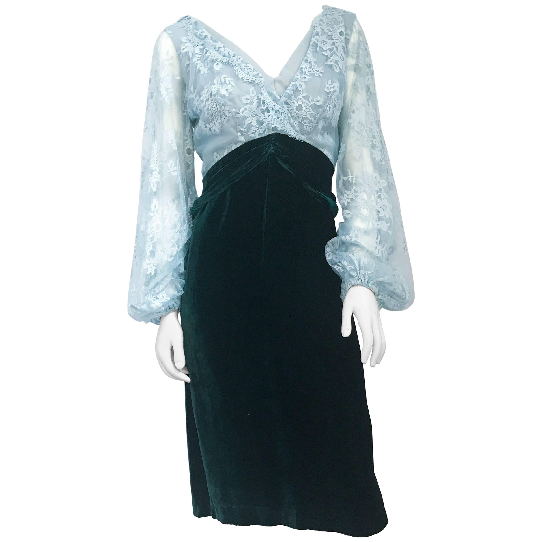 1960s Helen Rose Emerald Silk Velvet and Pale Blue Lace Dress