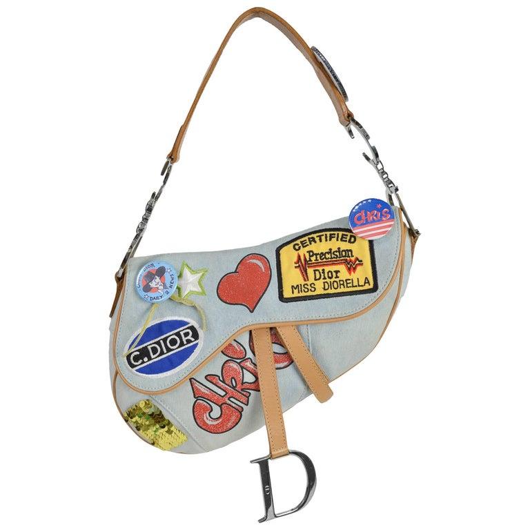 Christian Dior 'Speedway' Limited Edition Denim Saddle Bag