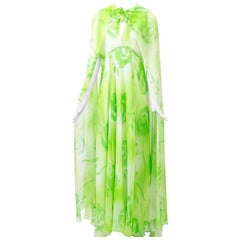 Lime Print Chiffon Gown and Scarf, 1970s