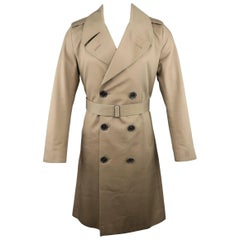 Men's DIOR HOMME 38 Khaki Cotton Double Breasted Trench Coat