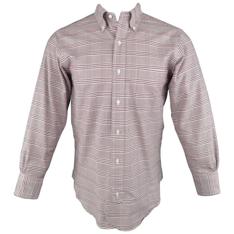 Men's BLACK FLEECE Size XS Burgundy Glenplaid Cotton Long Sleeve Shirt