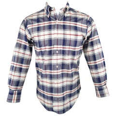 Men's BLACK FLEECE Size XS Red White & Blue Plaid Cotton Long Sleeve Shirt