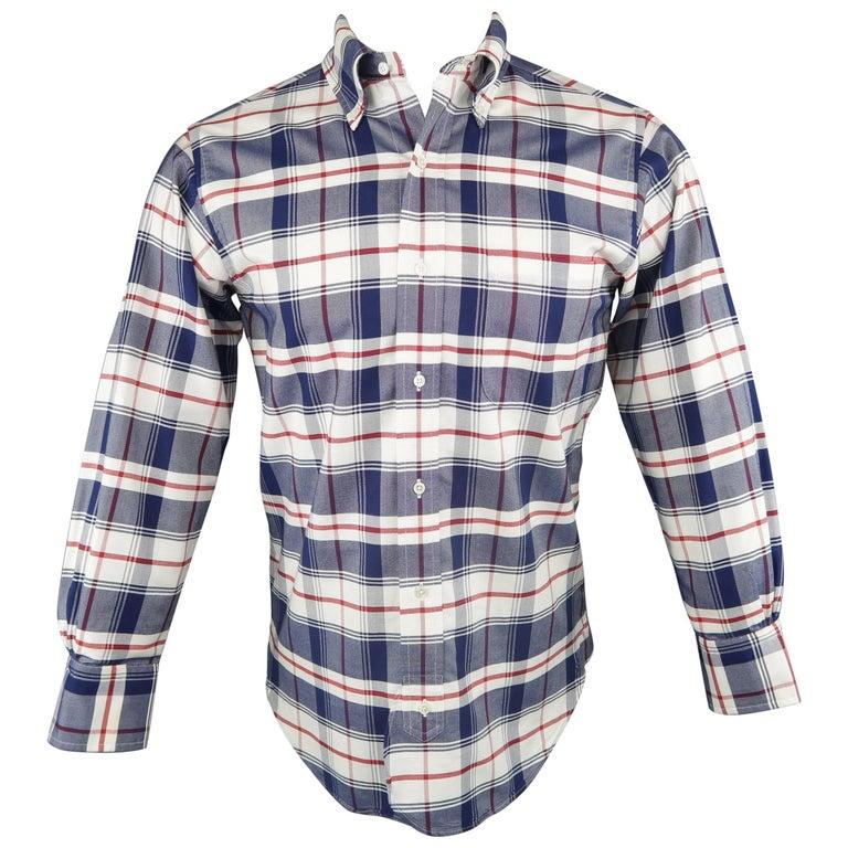 Men's BLACK FLEECE Size XS Red White & Blue Plaid Cotton Long Sleeve Shirt