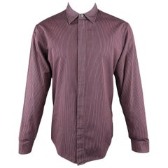 Men's MAISON MARTIN MARGIELA M Navy & Burgundy Striped Cotton Hidden Placket Shi