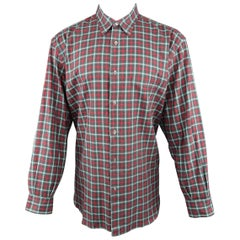 Men's BRIONI SPORT Size L Olive & Red Plaid Cotton Flannel Long Sleeve Shirt