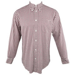 Men's HERMES Size M Burgundy & White Gingham Cotton Long Sleeve Shirt