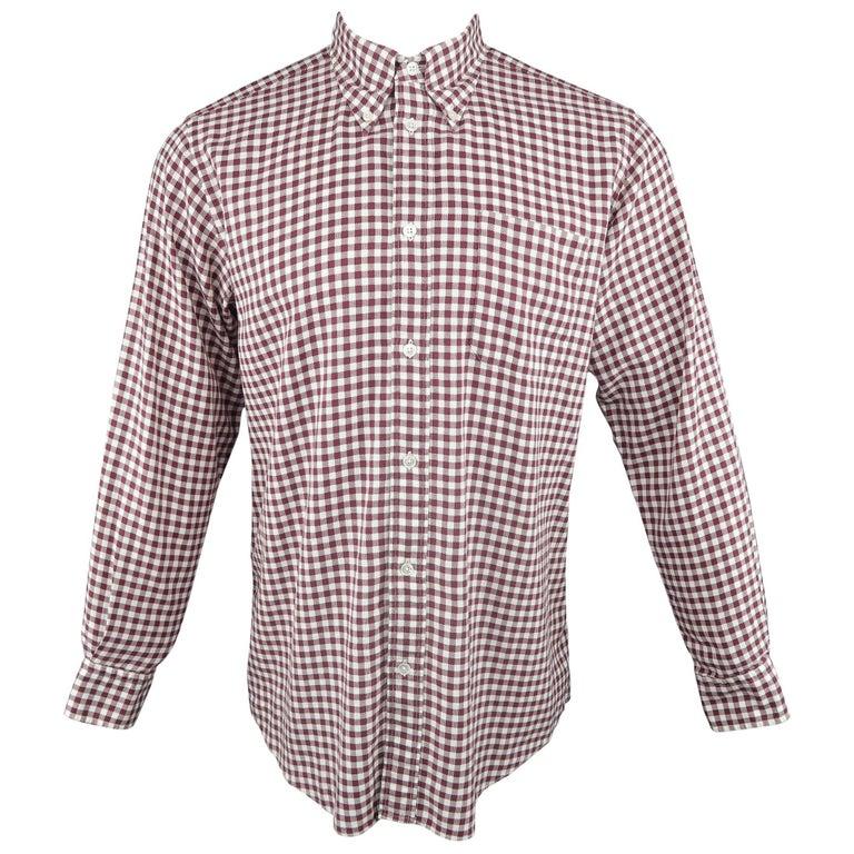Men's HERMES Size M Burgundy & White Gingham Cotton Long Sleeve Shirt