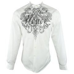 Men's GIVENCHY Size M White HONOR Tattoo Graphic Cotton Long Sleeve Shirt
