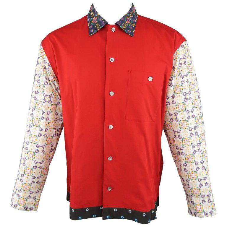 Men's ISSEY MIYAKE Size M Red Mixed Print Cotton Long Sleeve Shirt